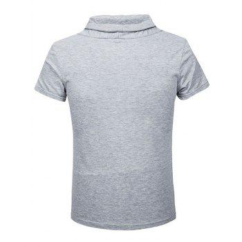 Heaps Boutons de col ornementé T-shirt de Shorts Sleeve Men - Gris Clair L