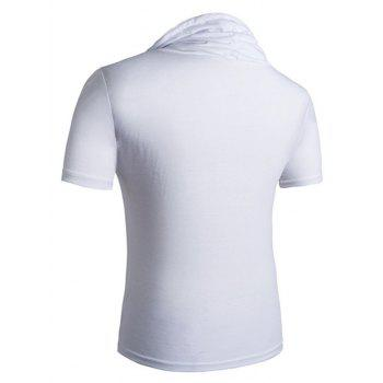 Heaps Collar Buttons Embellished Shorts Sleeve Men's T-Shirt - WHITE WHITE