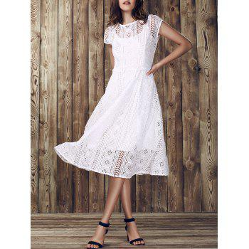 Elegant Women's Round Collar Hollow Out Short Sleeve Lace Dress
