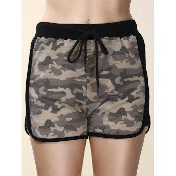Trendy High-Waisted Spliced Camo Print Women's Shorts