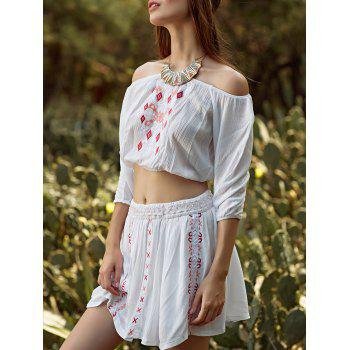 Stylish Off The Shoulder Embroidery Women's Two Piece Dress
