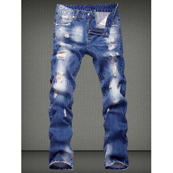 Slimming Ripped Straight Legs Denim Pants For Men