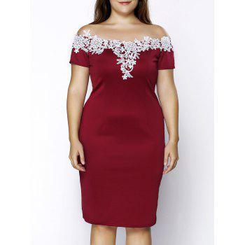 Stylish Women Plus Size Off The Shoulder Crochet Short Sleeve Dress