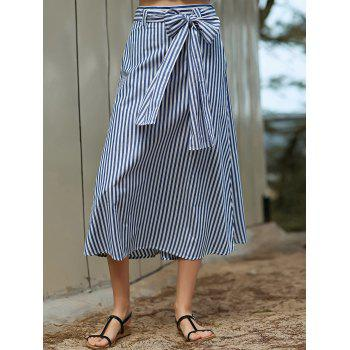 Stylish Striped A-Line Belted Women's Skirt