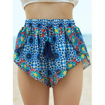 Stylish High Wasit Vintage Printed Fringe Women's Shorts