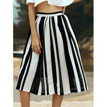 Stylish High Waist A-Line Hit Color Striped Women's Skirt