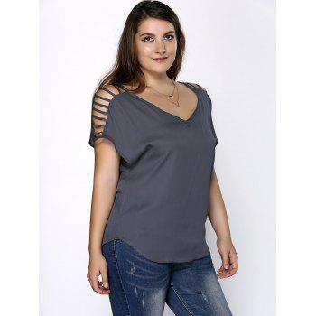 Plus Size Ripped Sleeve V Neck T-Shirt - GRAY 3XL