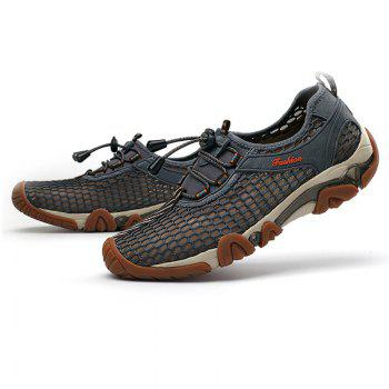 Fashionable Breathable and Mesh Design Men's Casual Shoes - GRAY 39