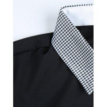 Checked Print Splicing Turn-Down Collar Long Sleeve Men's Shirt - BLACK L