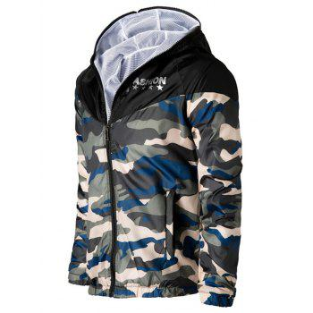 Letters Print Camouflage Splicing Hooded Long Sleeve Polyester Men's Jacket - BLUE/YELLOW 4XL