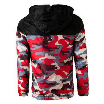 Letters Print Camouflage Splicing Hooded Long Sleeve Polyester Men's Jacket - RED L