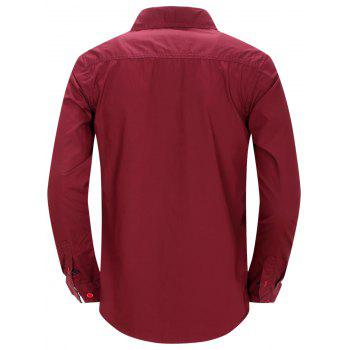 Casual Turn Down Collar Men's Shirts - WINE RED M