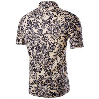 Casual Flower Printing Short Sleeves Men's Shirts - APRICOT M