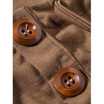 Heaps Collar Buttons Embellished Shorts Sleeve Men's T-Shirt - CAMEL CAMEL