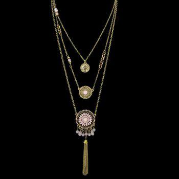 Graceful Multilayered Coin Flower Sweater Chain For Women - PINK PINK