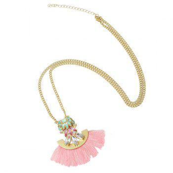 Delicate Faux Crystal Tassel Sweater Chain For Women - PINK PINK