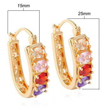 Pair of Hollow Out Rhinestone Alloy Hoop Earrings - GOLDEN