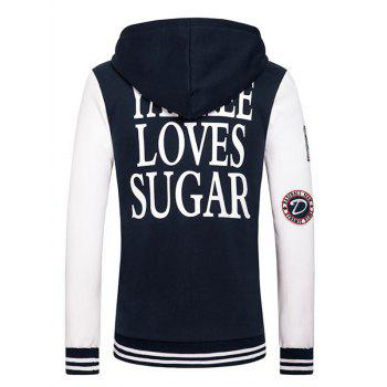 Letters Embroidered Applique Hooded Long Sleeve Zipper Hoodie - DEEP BLUE 2XL