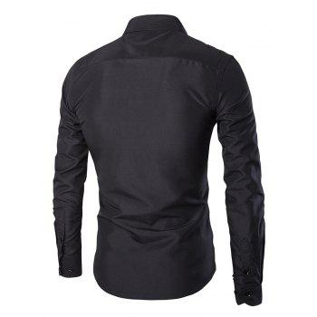 Solid Color Long Sleeves Single Breasted Men's Shirts - BLACK L
