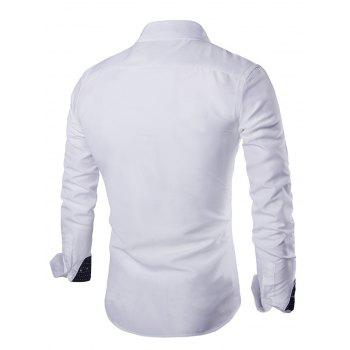 Solid Color Long Sleeves Single Breasted Men's Shirts - WHITE XL