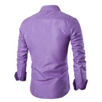 Solid Color Long Sleeves Single Breasted Men's Shirts - LIGHT PURPLE 2XL