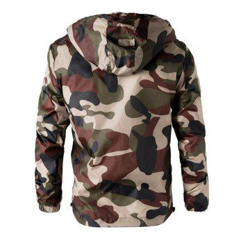 Camouflage Hooded Long Sleeve Polyester Men's Jacket - ARMY GREEN 3XL