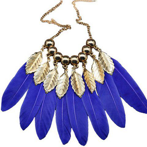 Elegant Leaf Faux Feather Beads Sweater Chain For Women - SAPPHIRE BLUE