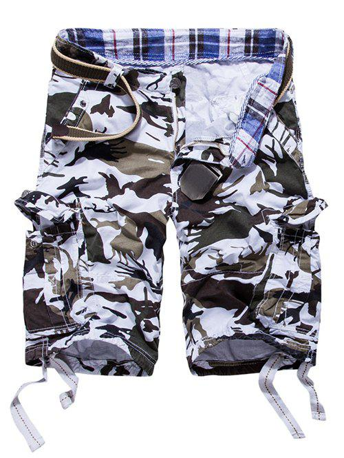 Loose Fit Multi-pockets Camo Printed Men's Cargo Shorts WHITE