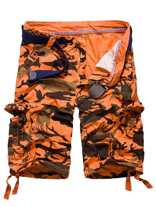 Loose Fit Multi-pockets Camo Printed Men's Cargo Shorts - JACINTH 30