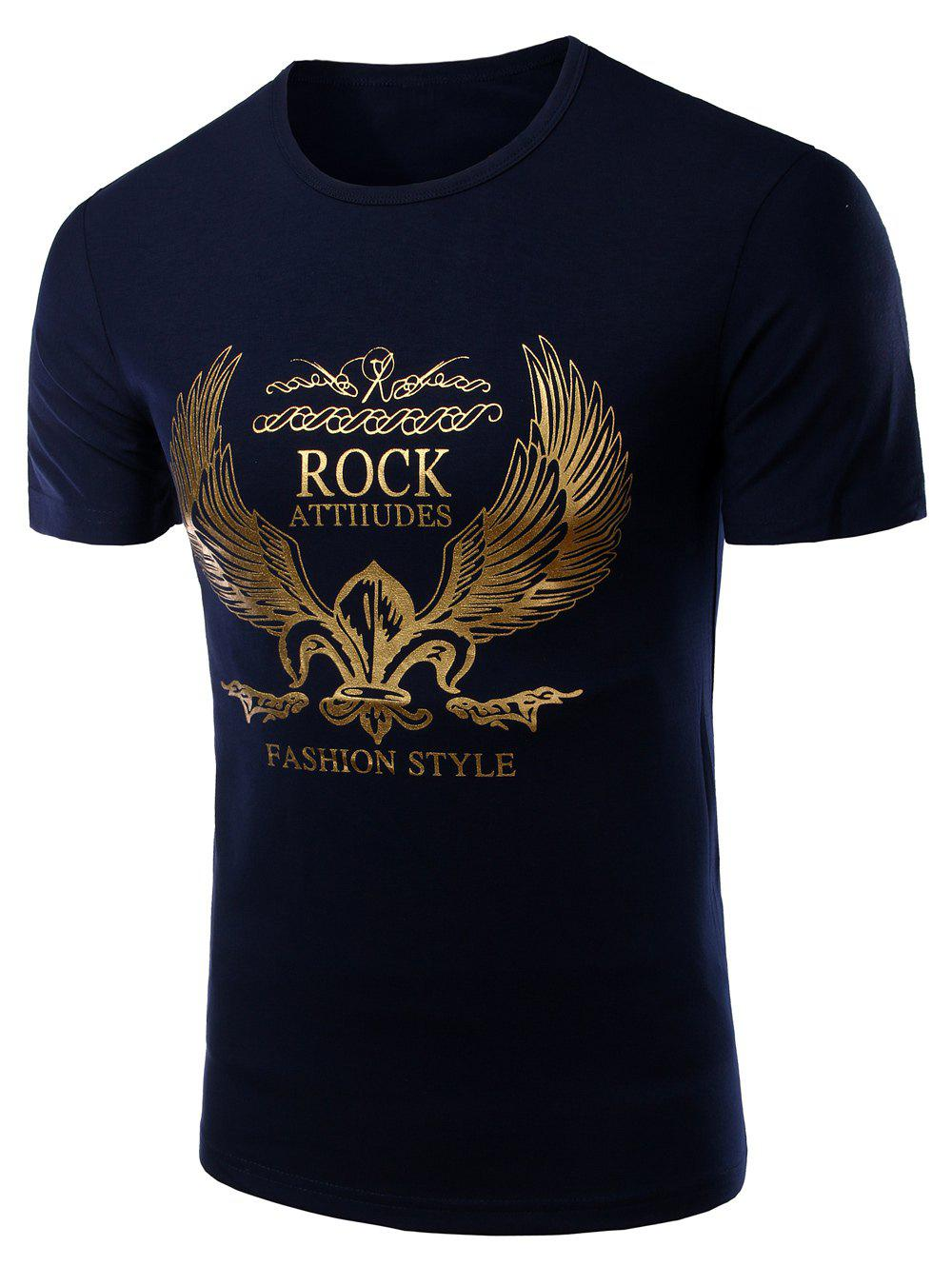 Men's Fashion Round Neck Golden Wing Print Short Sleeves T-Shirt - CADETBLUE M