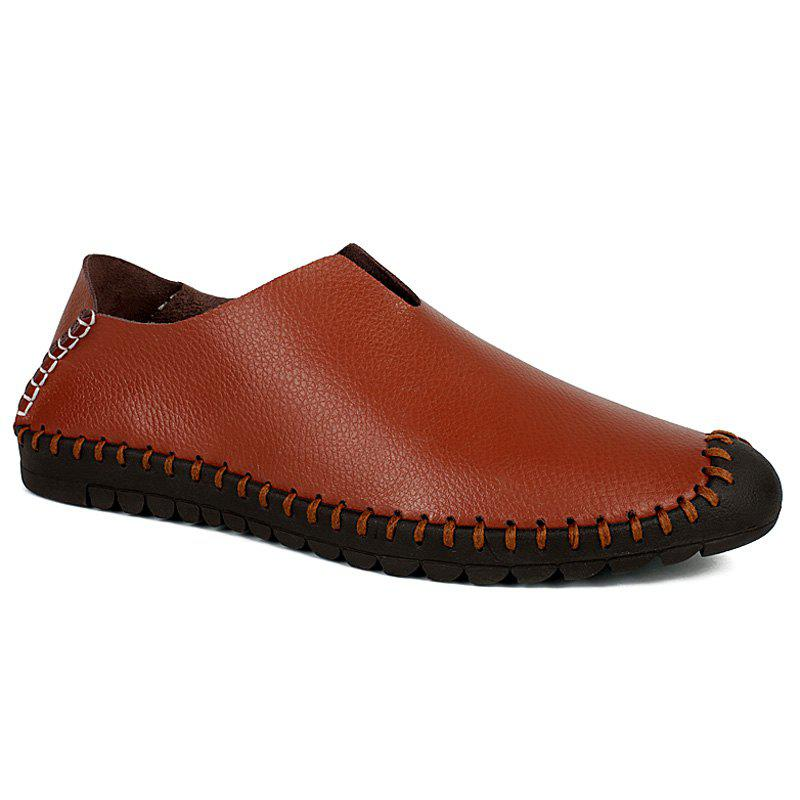 Stylish PU Leather and Stitching Design Men's Casual Shoes - BROWN 44