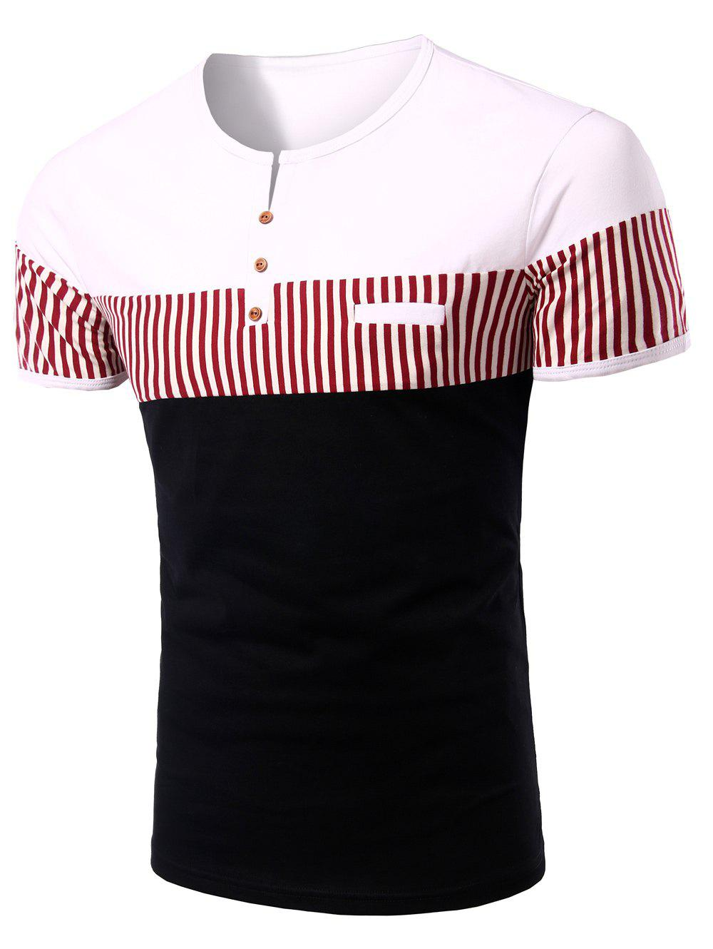 Men 's Stripes Round Neck Button Design Color Block Short Sleeves T-Shirt