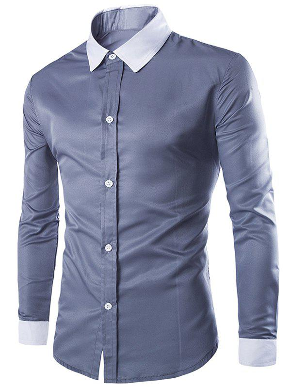 Color Block Long Sleeves Single Breasted Men's Shirts - XL GRAY