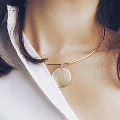 Simple Geometric Alloy Round Pendant Gold Necklace For Women