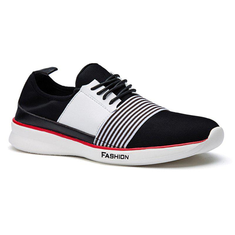 Stylish Striped and Hit Color Design Men's Casual Shoes - BLACK 42