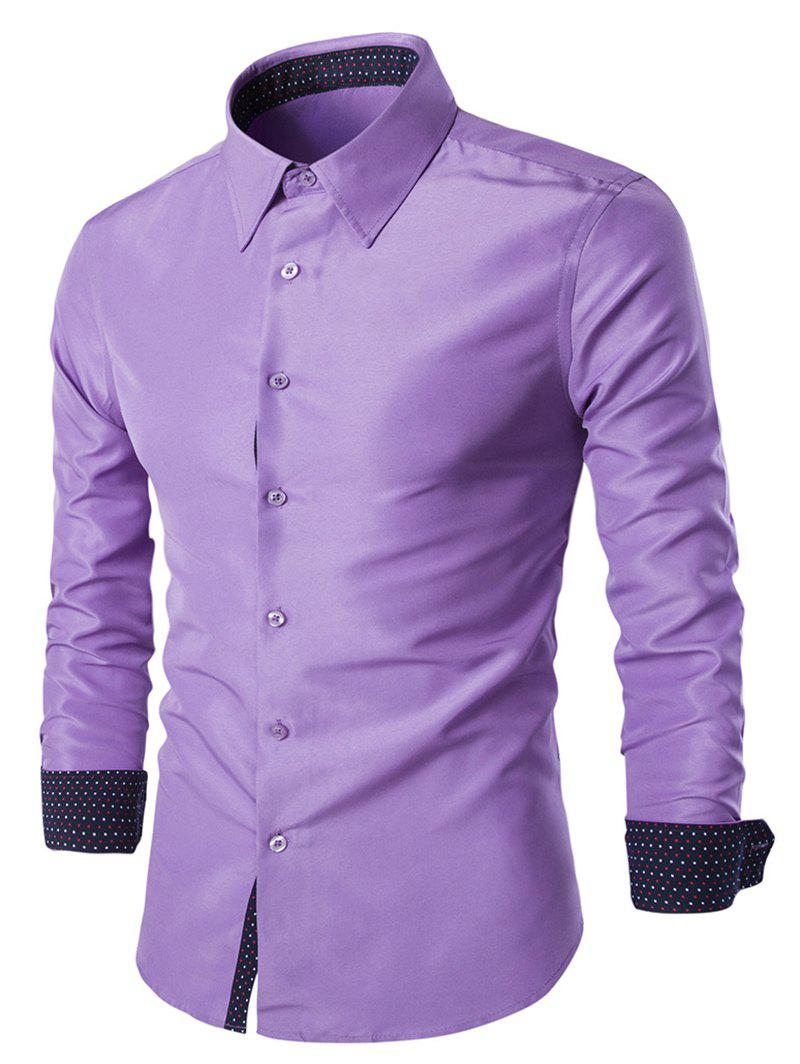 Solid Color Long Sleeves Single Breasted Men's Shirts - LIGHT PURPLE 3XL