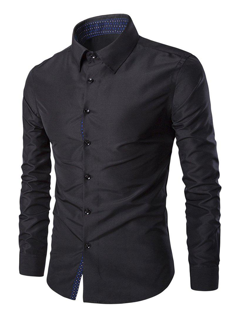Solid Color Long Sleeves Single Breasted Men's Shirts - BLACK M