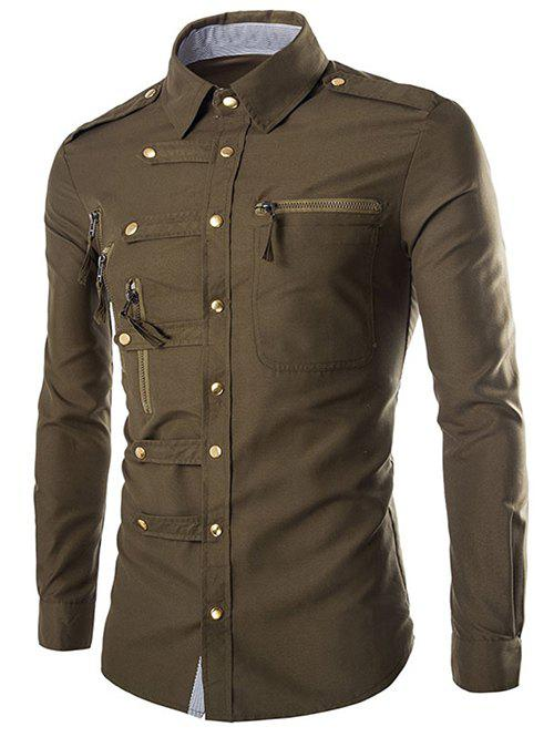 Solid Color Long Sleeves Zip Design Men's Shirts - ARMY GREEN L
