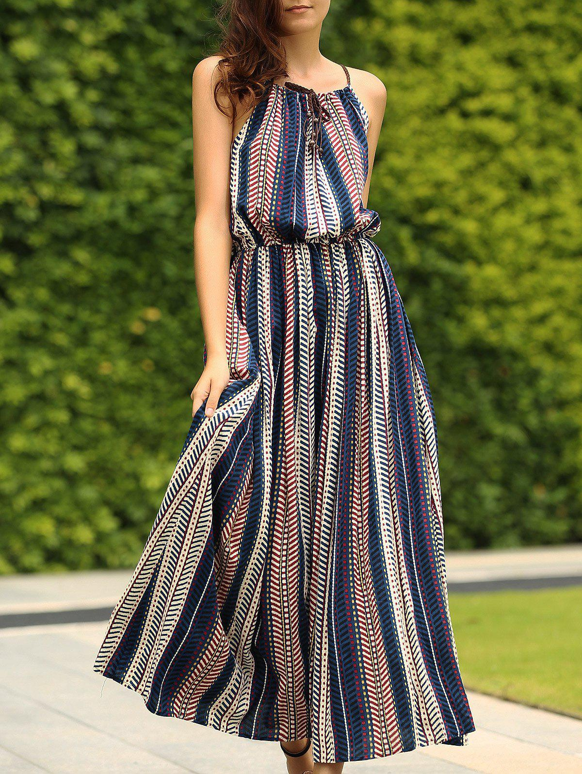 Bohemian Spaghetti Strap Sleeveless Striped Maxi Dress For Women