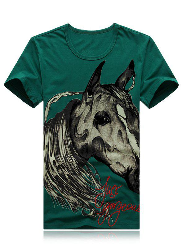 3D Horse and Letters Print Round Neck Short Sleeve Men's T-Shirt - ARMY GREEN 2XL