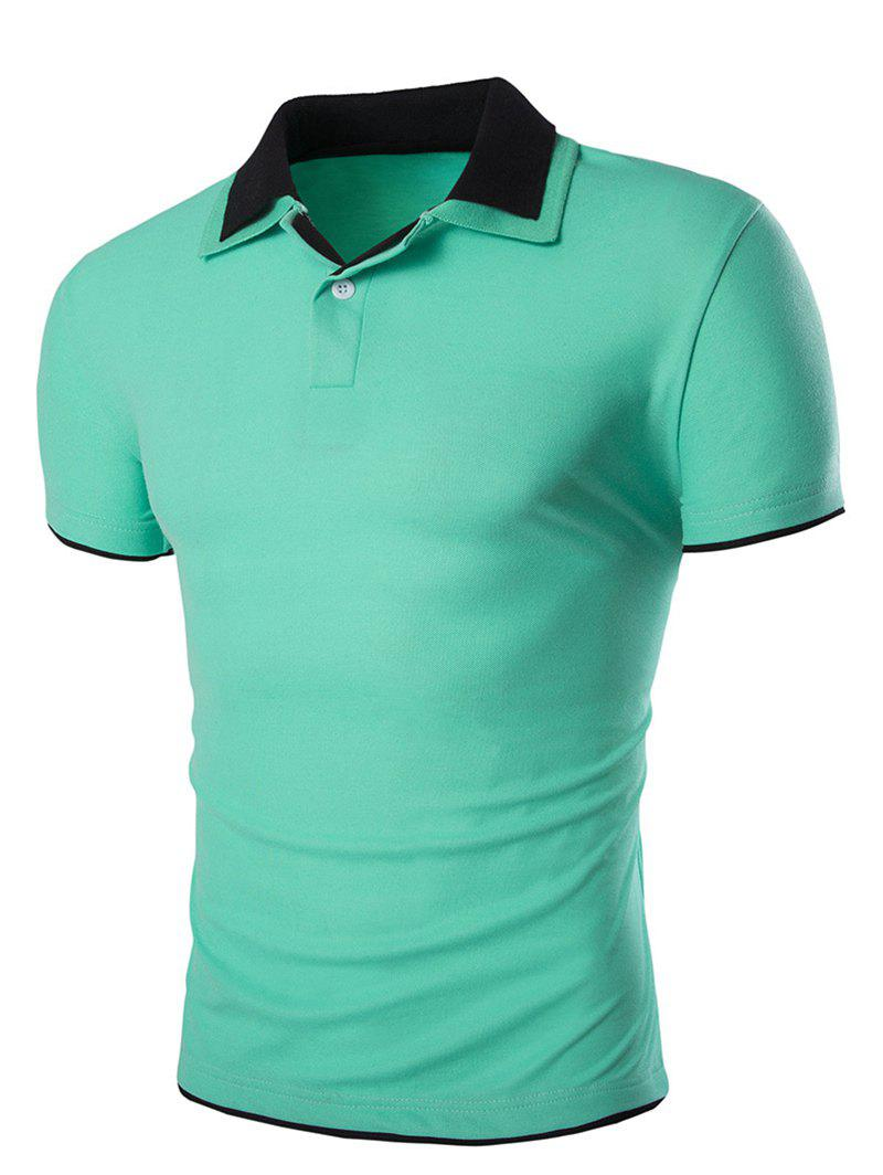 Slimming Short Sleeves Polo Collar Men's T-Shirt - LIGHT GREEN 2XL
