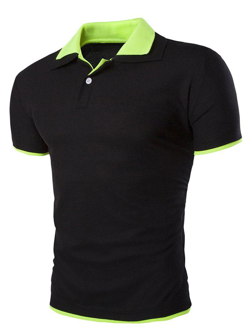Slimming Short Sleeves Polo Collar Mens T-ShirtMen<br><br><br>Size: L<br>Color: BLACK