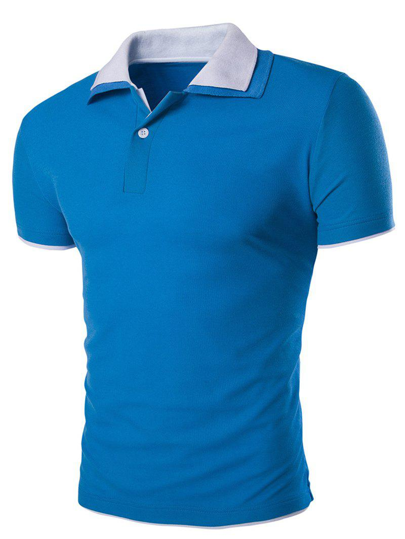 Slimming Short Sleeves Polo Collar Men's T-Shirt - SAPPHIRE BLUE 3XL