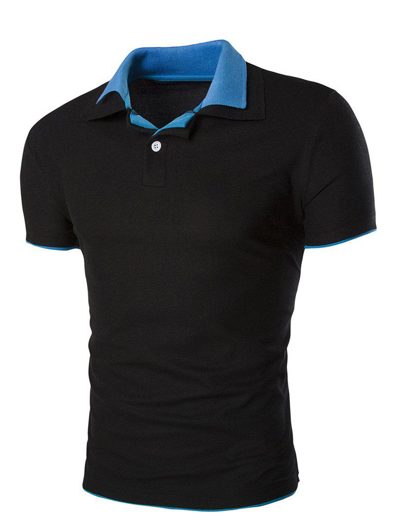 Slimming Men's Short Sleeves Polo Collar T-Shirt - BLACK 3XL