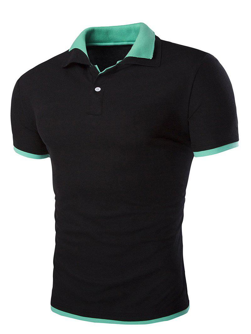 Slim Fit Short Sleeves Polo Collar Men's T-Shirt - BLACK L