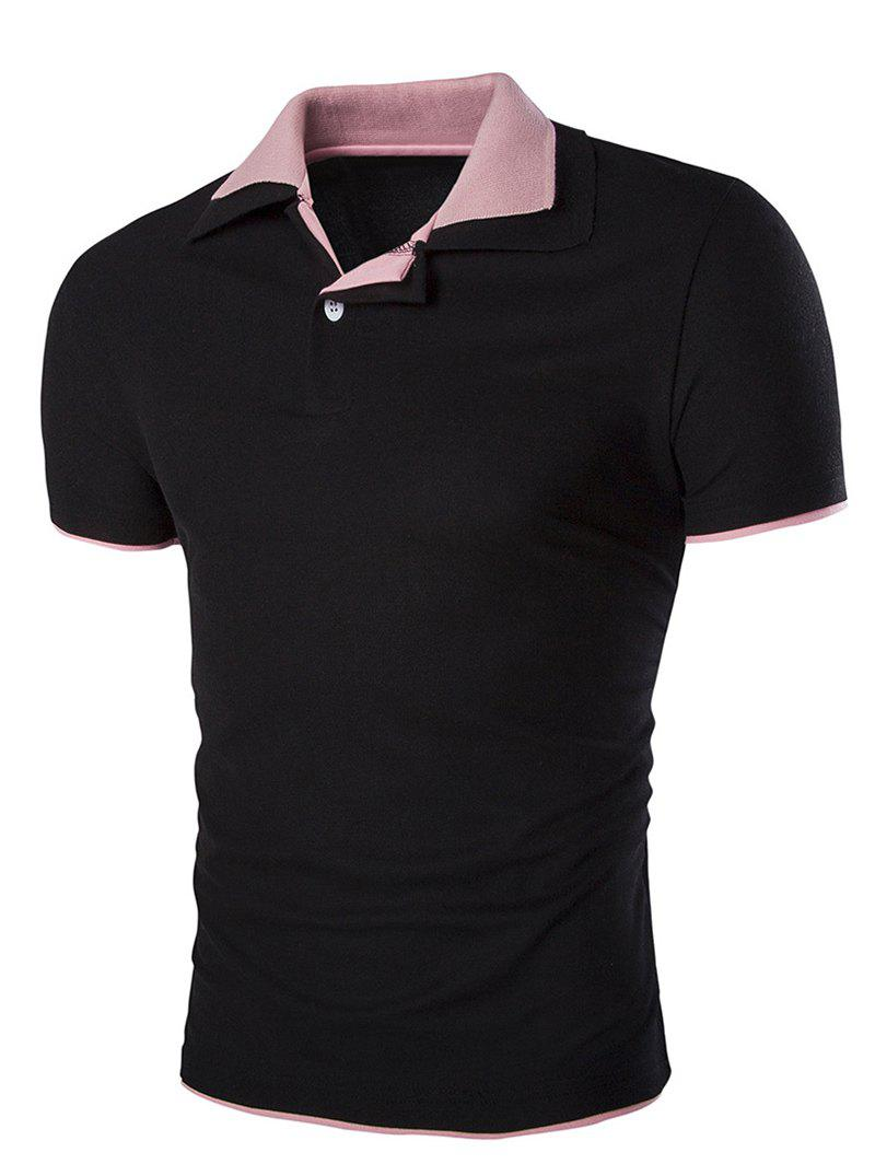 Slim Fit Short Sleeves Men's Polo Collar T-Shirt - BLACK L