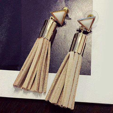 Pair of Popular Faux Crystal Triangle Tassel Drop Earrings For Women