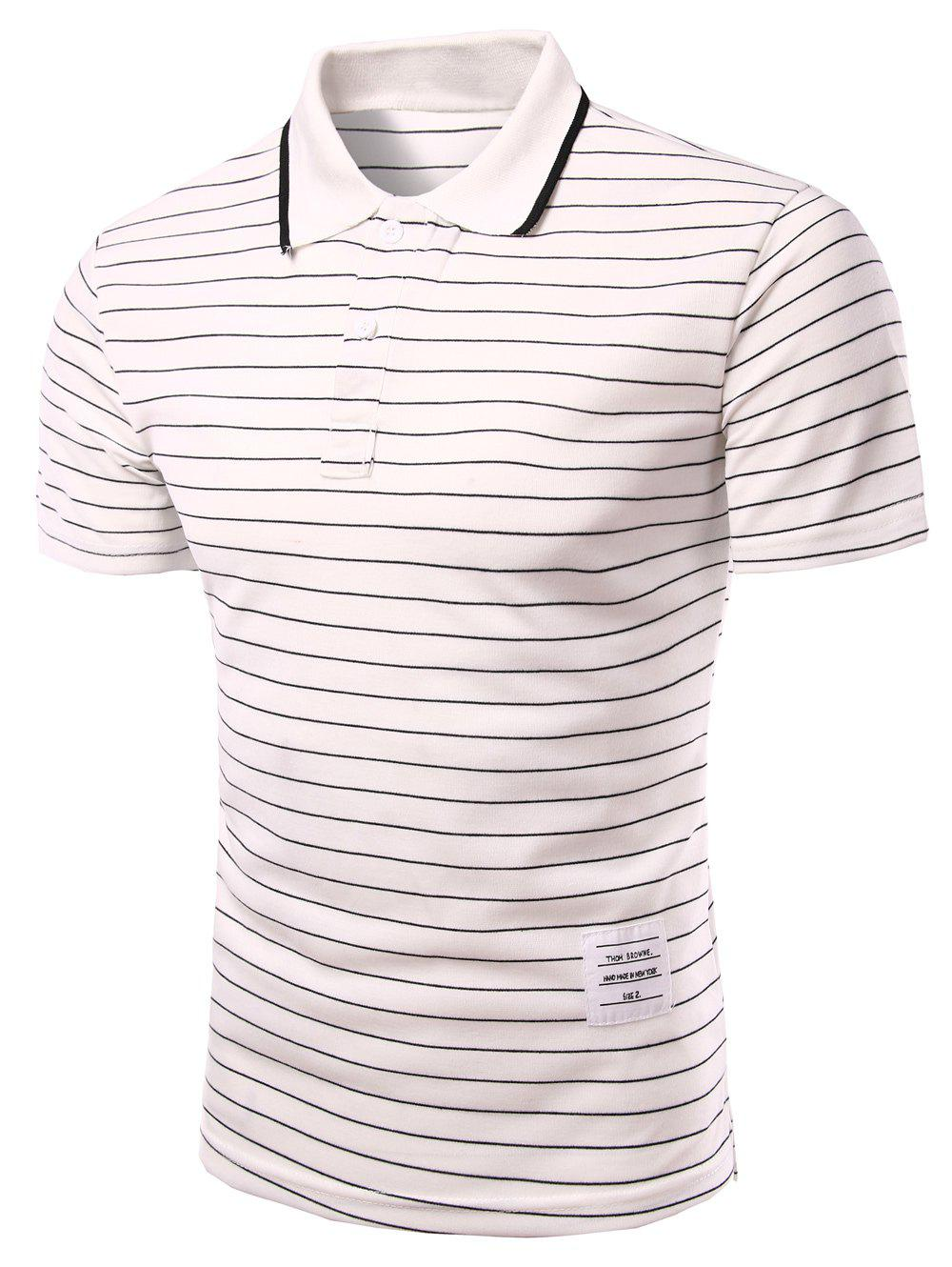 Men's Fitted Turn-down Collar Stripes Short Sleeves Polo T-Shirt - WHITE M