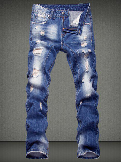 Slimming Ripped Straight Legs Denim Pants For Men - DENIM BLUE 36
