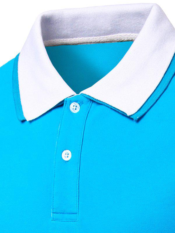 Men's Turn-down Collar Solid  Color Short Sleeves Polo T-Shirt - BLUE M